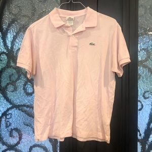 Men Pink Lacoste Polo Short Sleeve